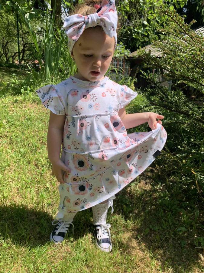BySues detské šaty, vzor VTÁČIKY